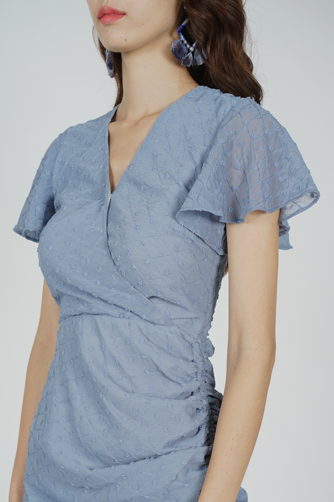 Kalie Side Ruched Dress in Ash Blue - Arriving Soon