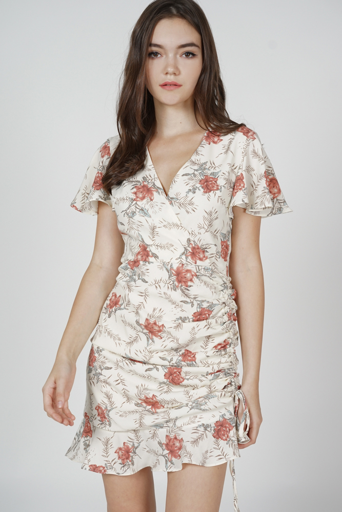 Kalie Side Ruched Dress in Cream Floral - Arriving Soon
