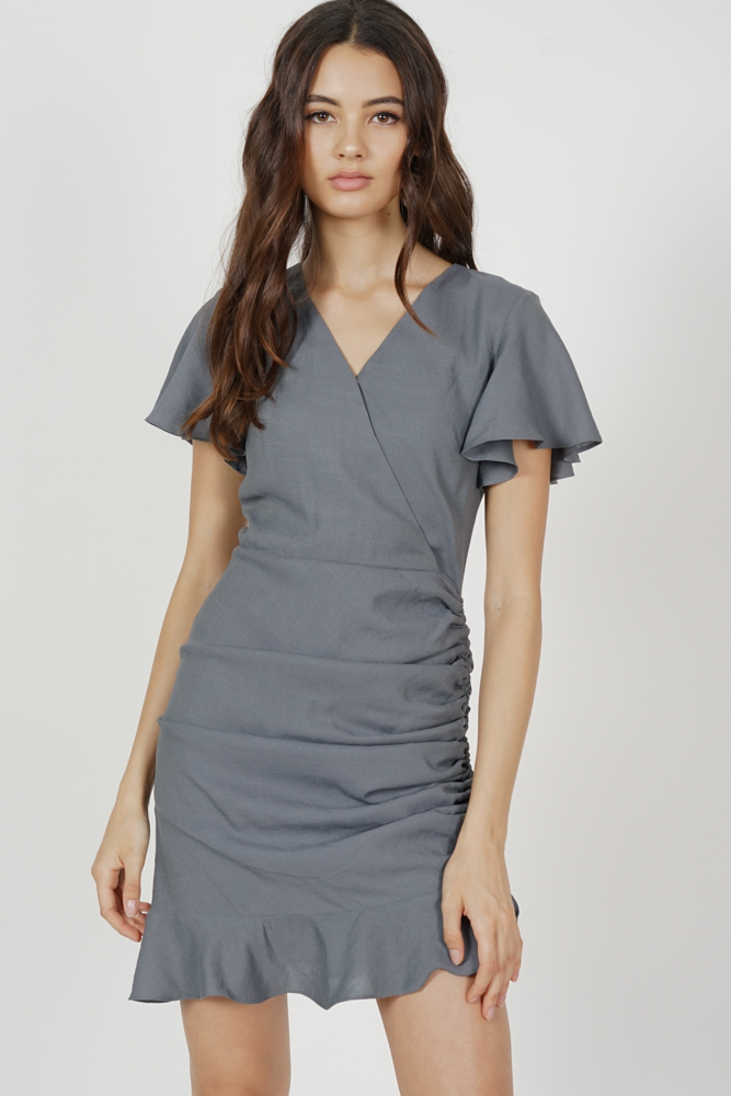 Kalie Side Ruched Dress in Grey