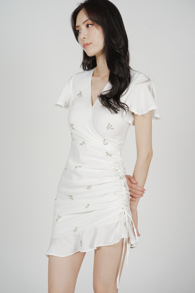 Kalie Side Ruched Dress in White Floral - Arriving Soon