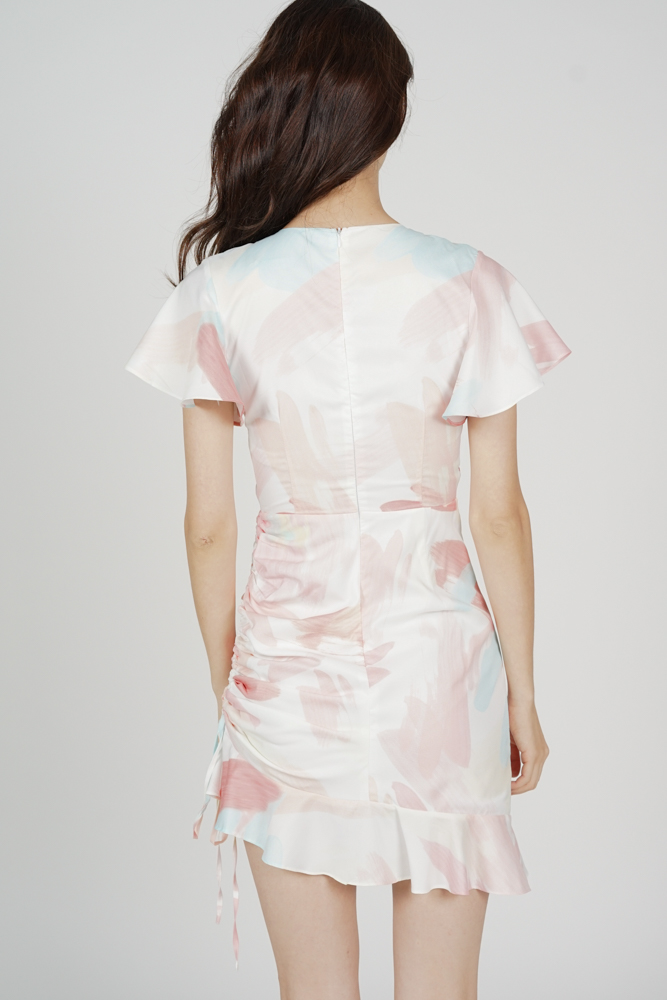 Kalie Side Ruched Dress in White Pink Abstract