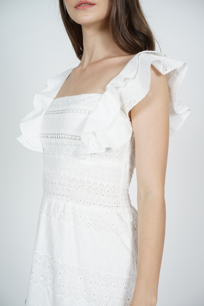 Ulyna Overlay Dress in White