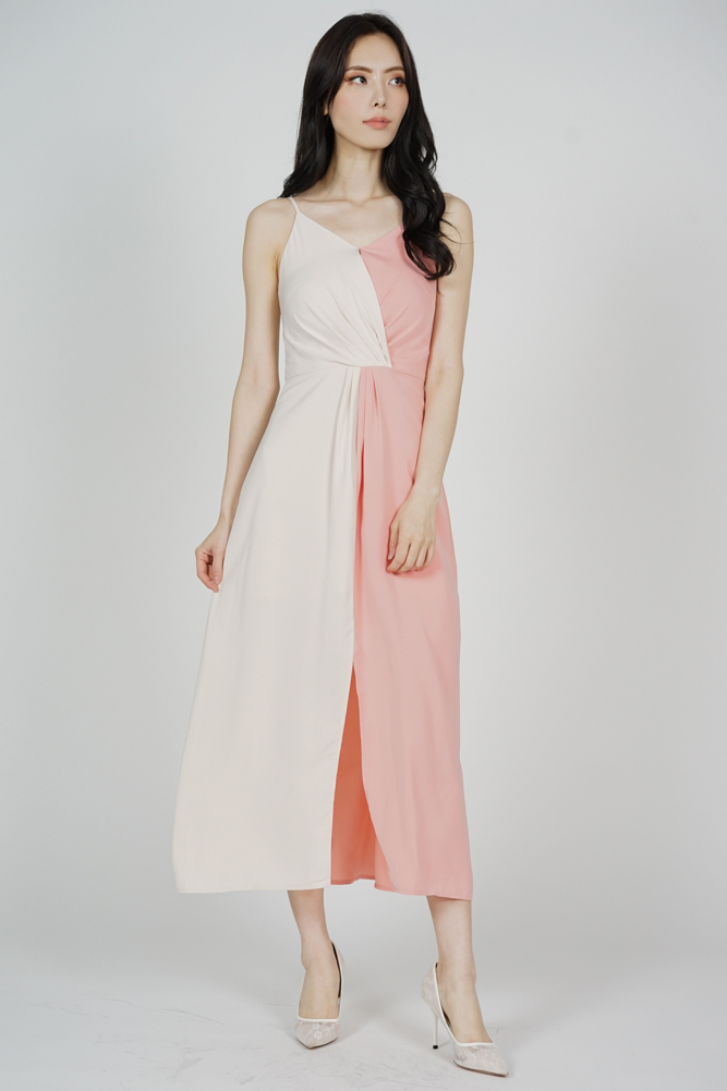 Portia Drape Dress in Cream Pink