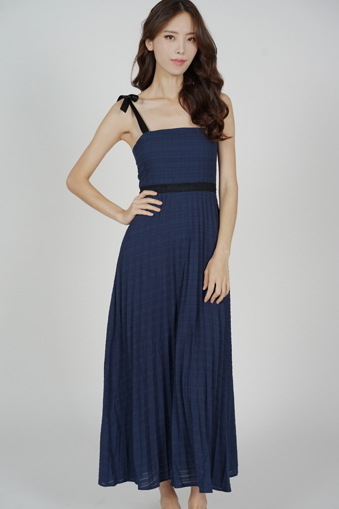 Adras Pleated Dress in Midnight - Arriving Soon