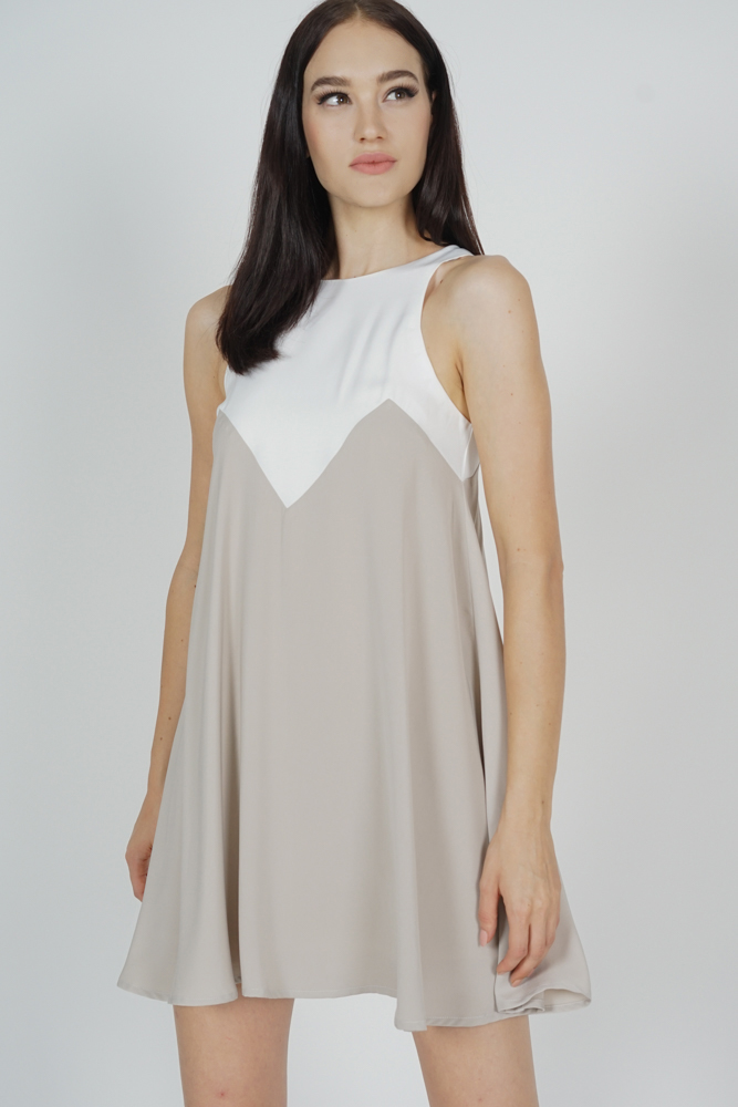 Karina Swing Dress in White Taupe - Arriving Soon