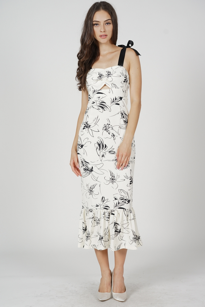 Elsi Gathered Front Cutout Dress in White Floral - Arriving Soon