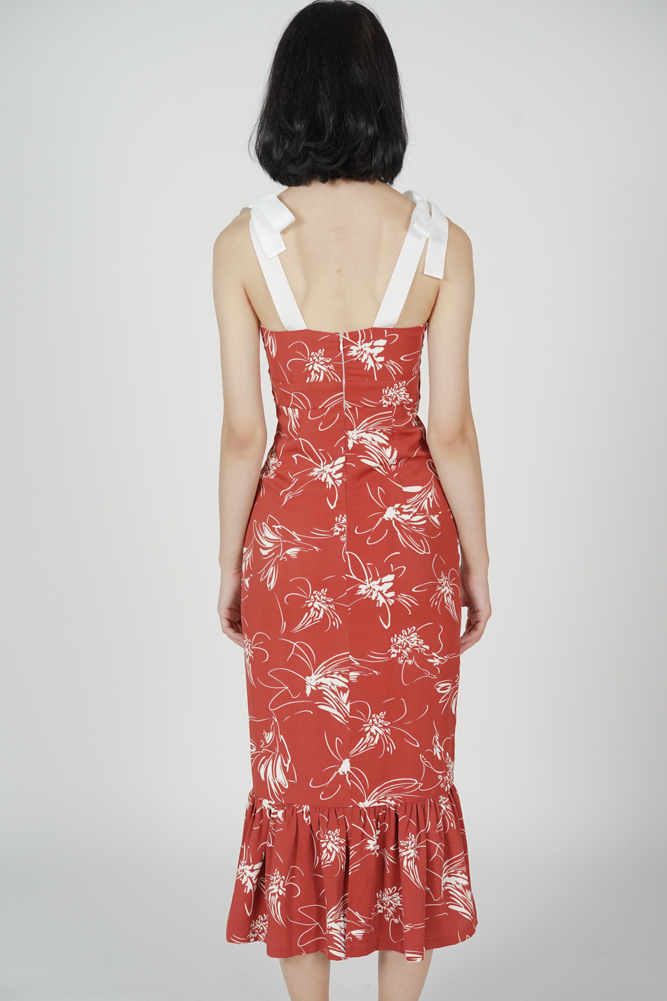 Elsi Gathered Front Cutout Dress in Maroon Floral - Arriving Soon