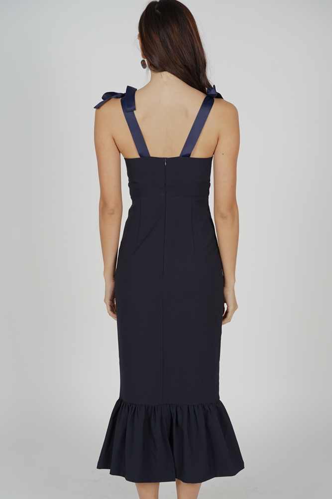 Elsi Gathered Front Cutout Dress in Midnight - Arriving Soon