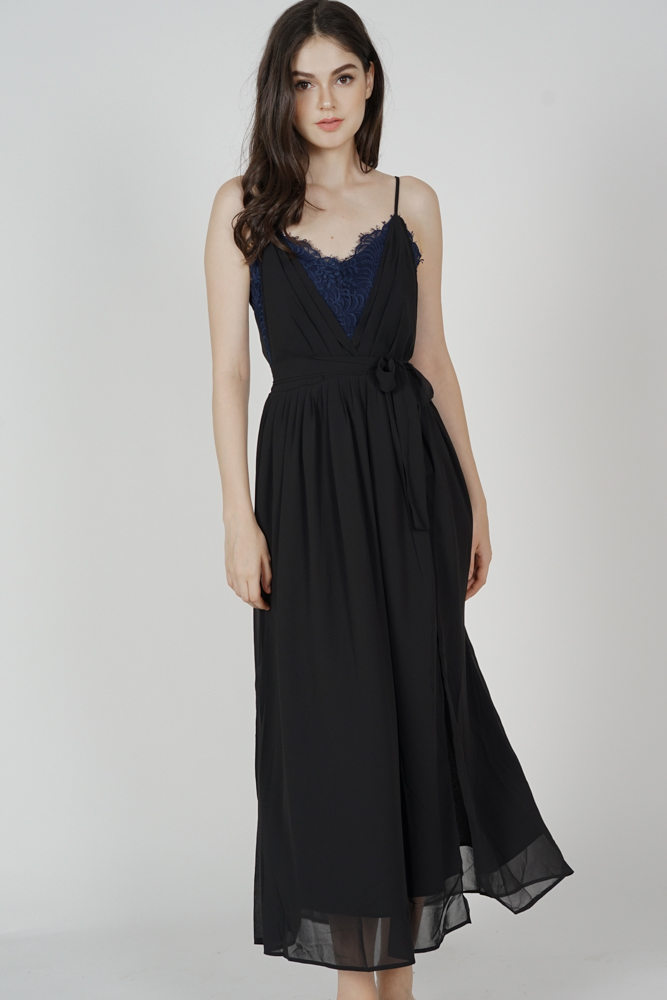 Aina Drape Dress in Black