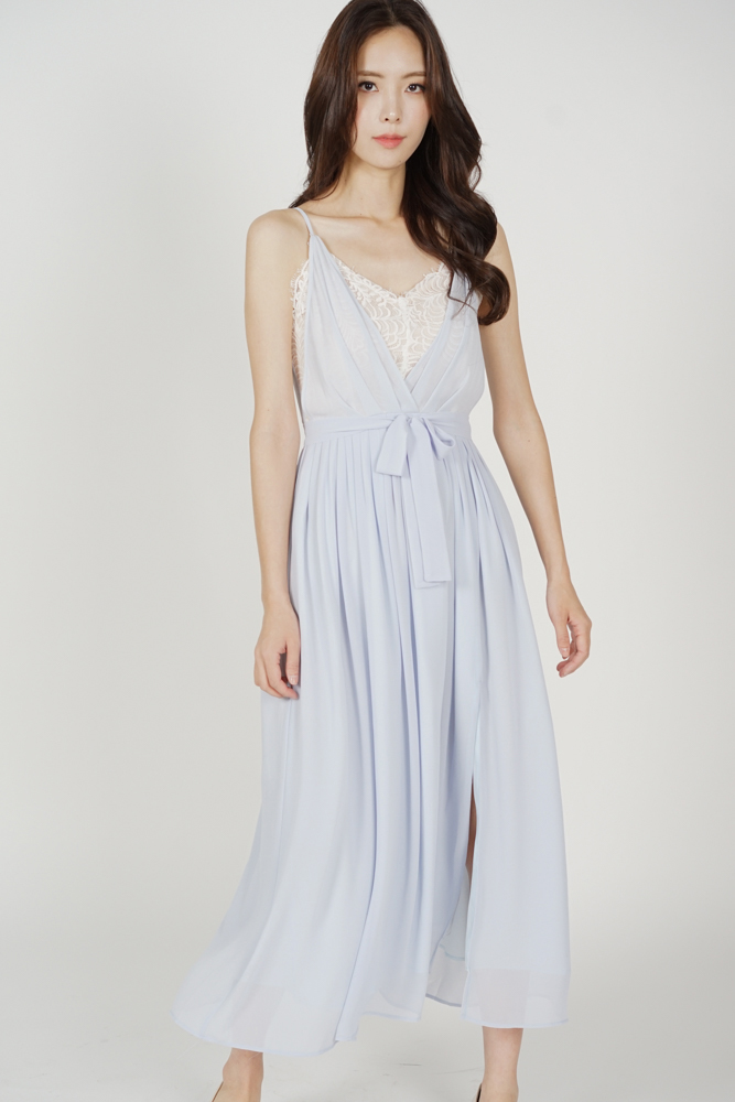 Aina Drape Dress in Light Blue