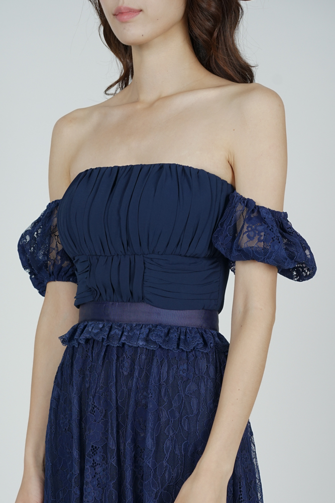 Cerise Lace Dress in Midnight