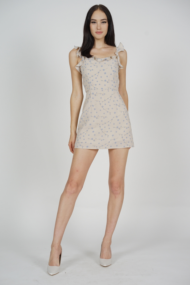 Megan Frilly Skorts Romper in Nude Floral - Arriving Soon