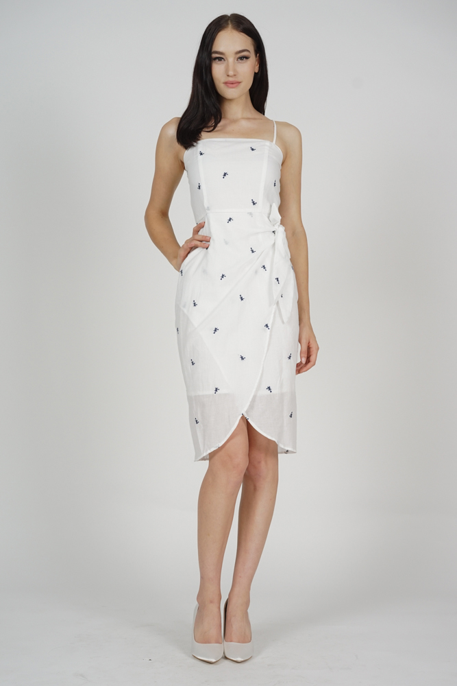 Cherie Overlap Dress in White - Arriving Soon
