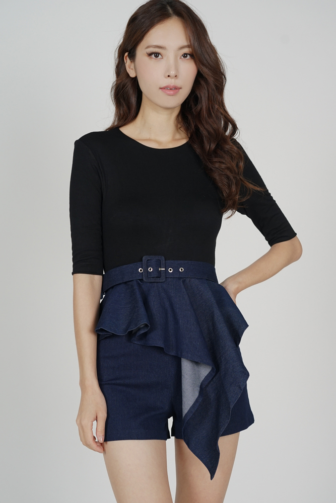 Jedda Contrast Peplum Romper in Black Blue - Arriving Soon