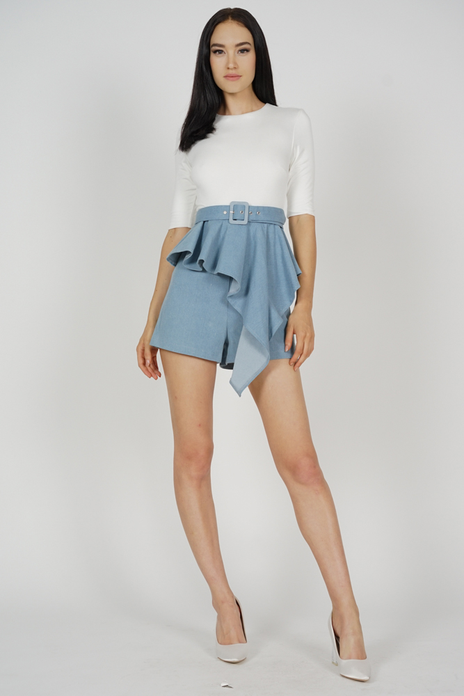 Jedda Contrast Peplum Romper in White Blue - Arriving Soon