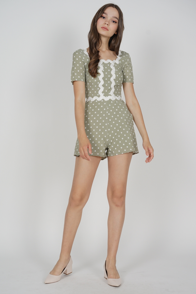 Elska Romper in Green Polka Dots - Arriving Soon