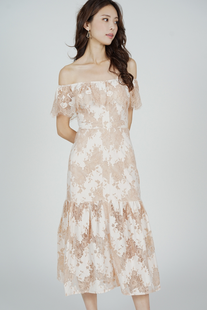 Marena Lace Dress in Nude