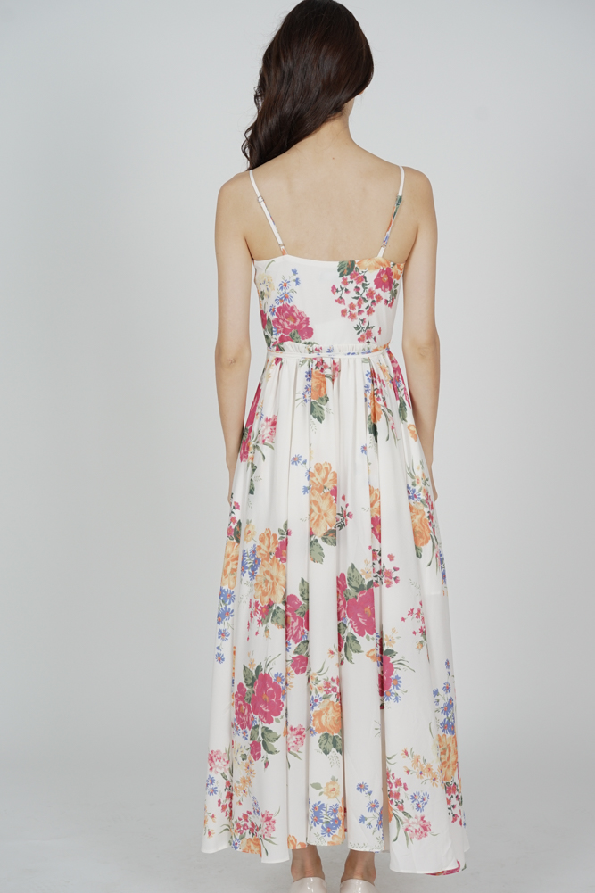 Florencia Wrapped Maxi Dress in Cream Floral