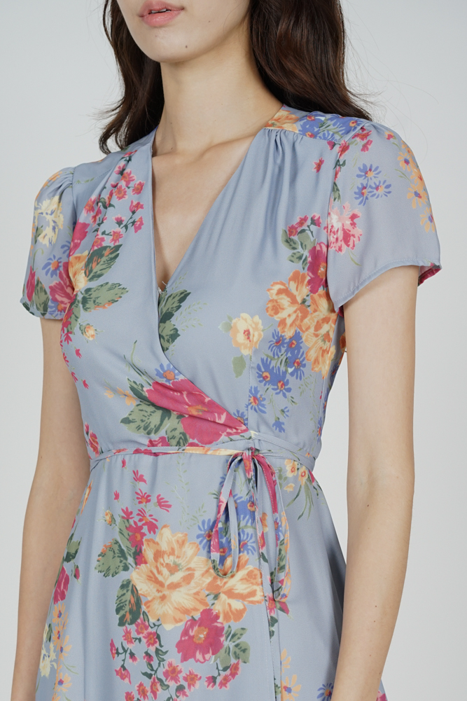Yeli Wrapped Dress in Ash Blue Floral - Arriving Soon