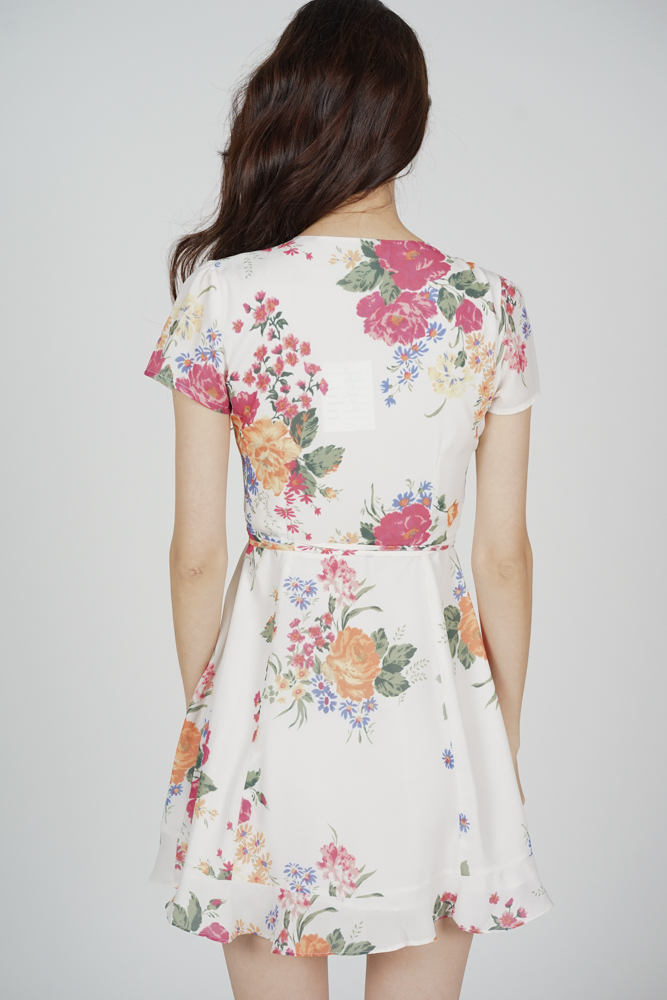 Yeli Wrapped Dress in White Floral - Arriving Soon