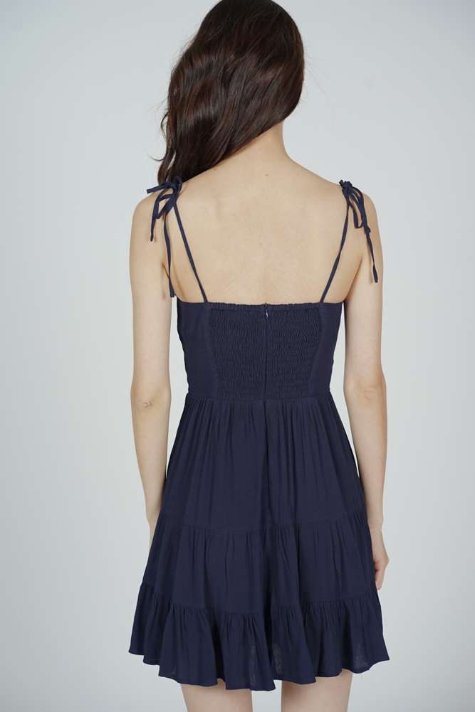 Sazna Gathered Dress in Midnight - Arriving Soon
