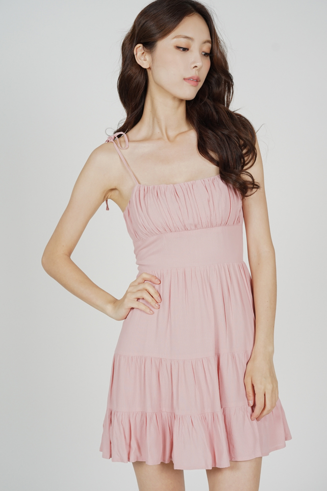 Sazna Gathered Dress in Pink - Arriving Soon