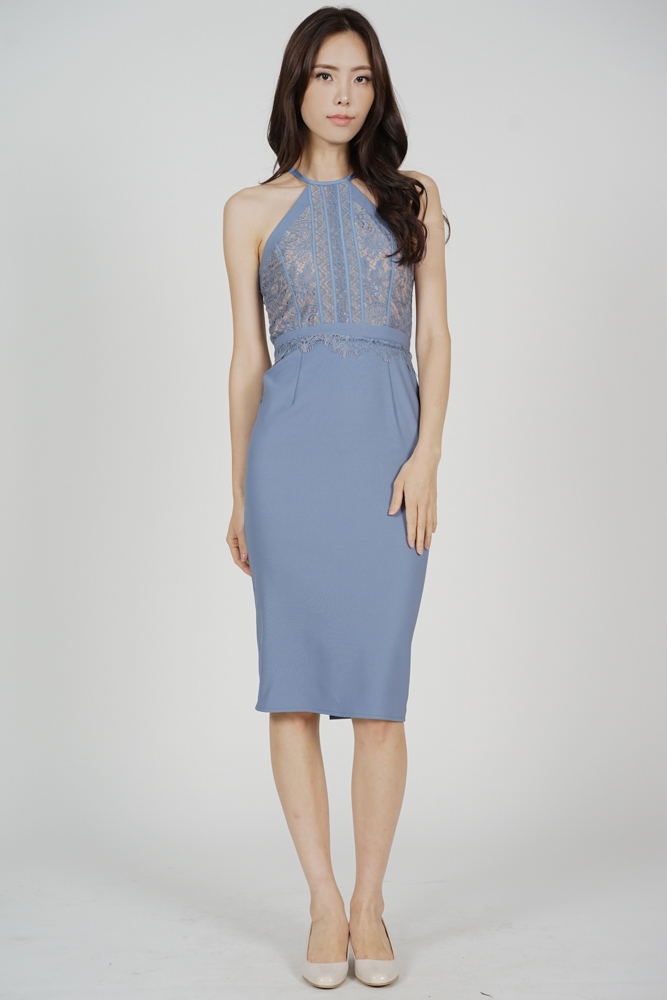 Prisca Halter Dress in Blue