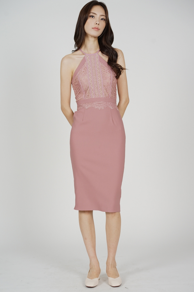 Prisca Halter Dress in Pink - Arriving Soon