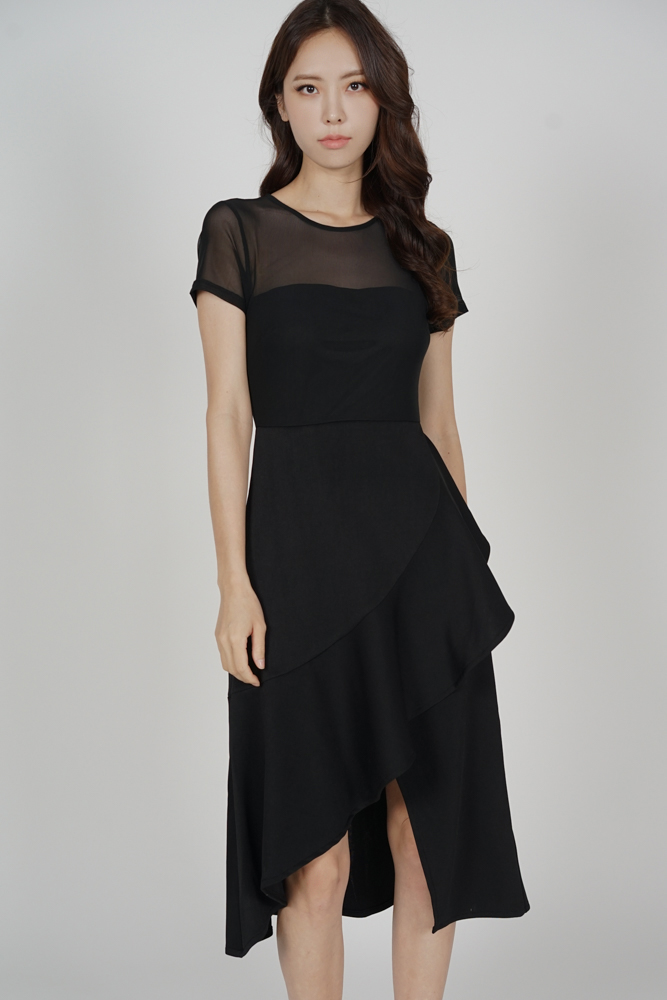 Lauren Mesh Ruffled Dress in Black