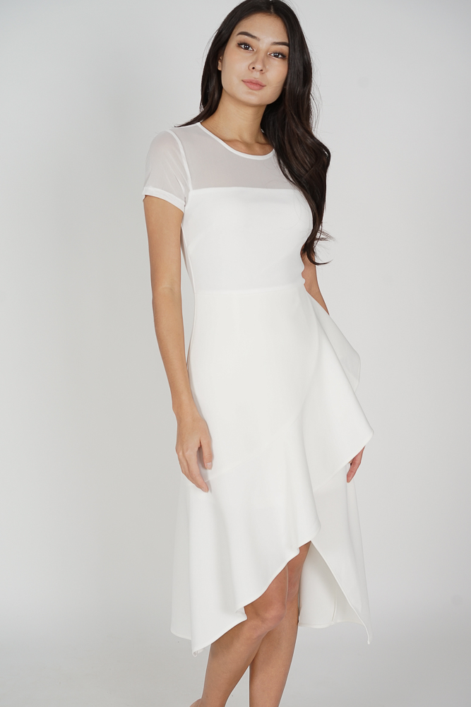 Lauren Mesh Ruffled Dress in White - Arriving Soon