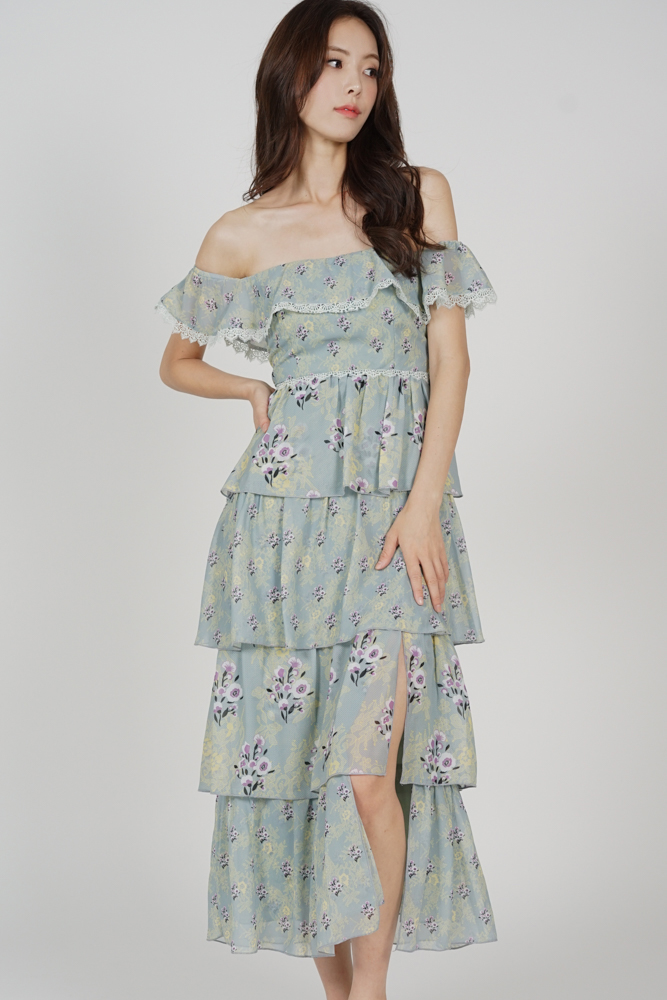 Mariya Tiered Dress in Mint Floral