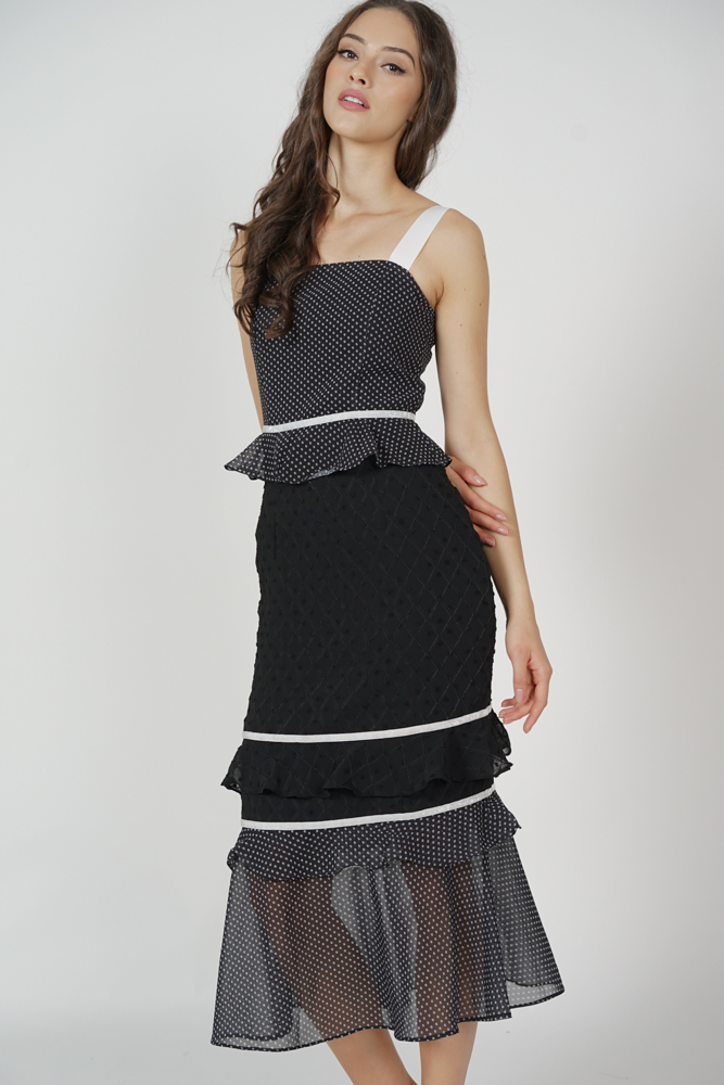 Odine Ruffled Dress in Black - Arriving Soon
