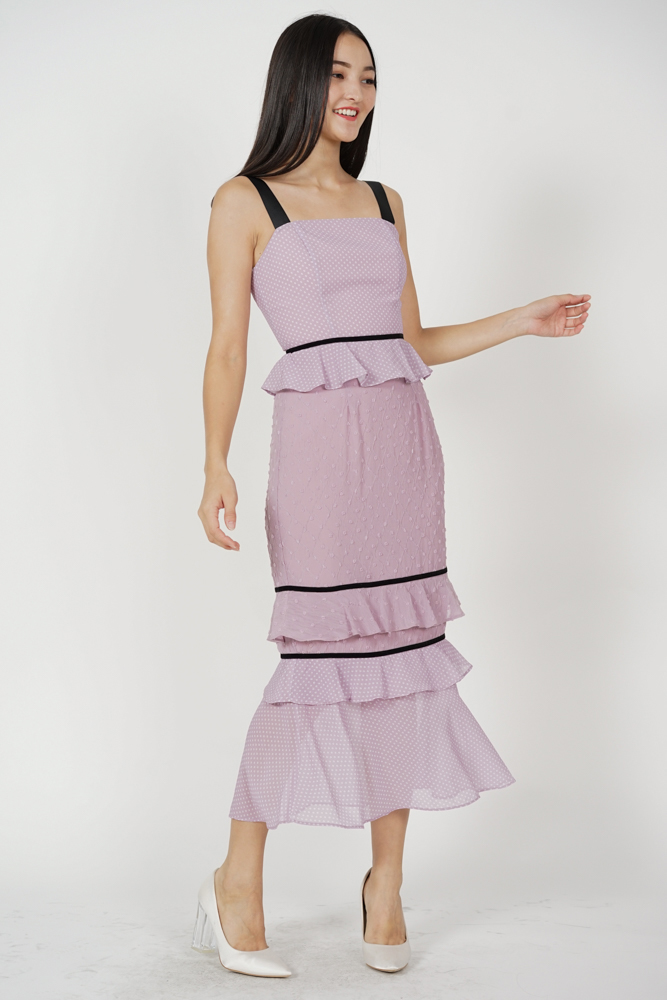 Odine Ruffled Dress in Lavender - Arriving Soon