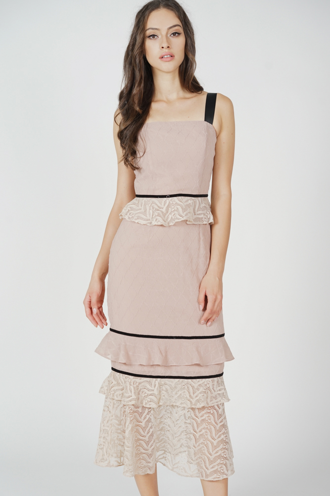 Mello Ruffled Dress in Nude - Arriving Soon