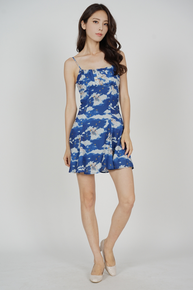 Veska Flared-Hem Dress in Blue