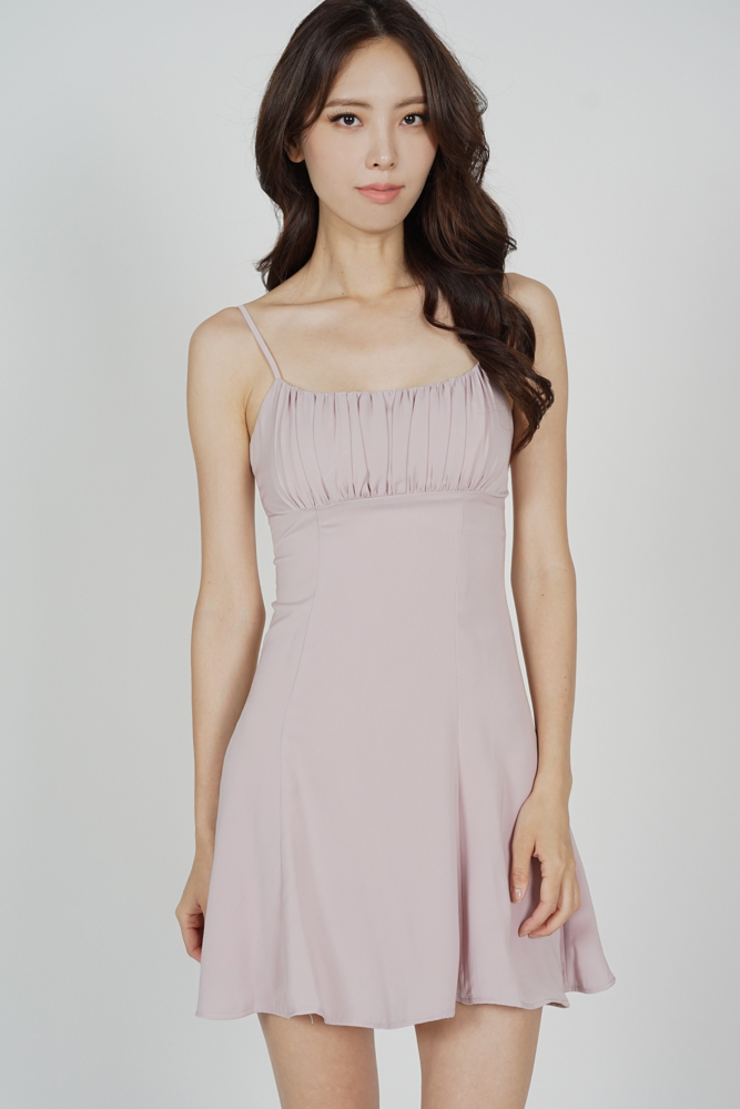 Veska Flared-Hem Dress in Pink