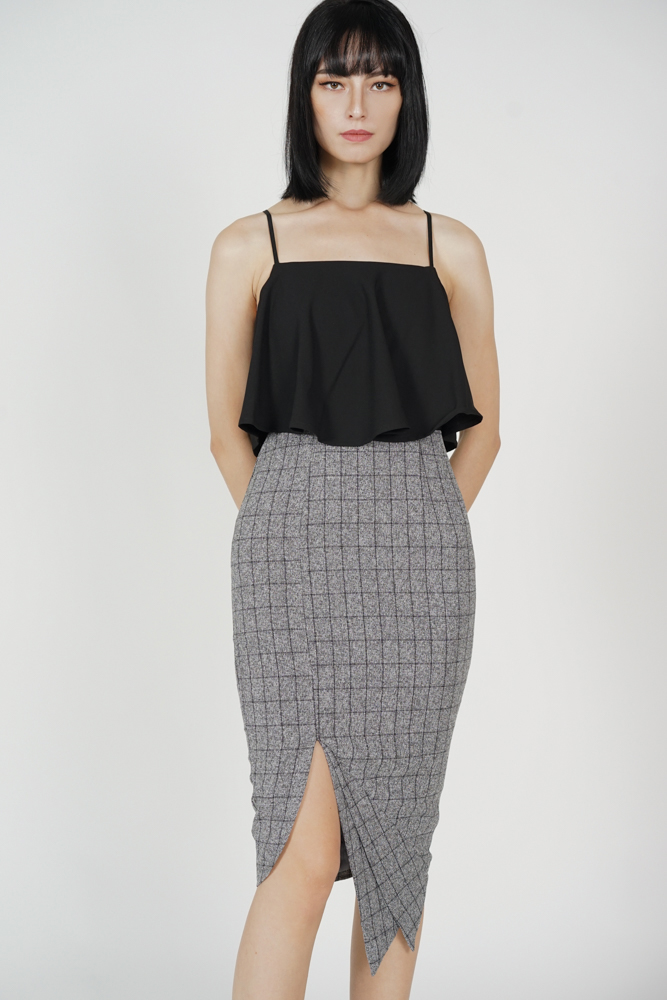 Marvie Cutout Slit Dress in Black Grey Checks
