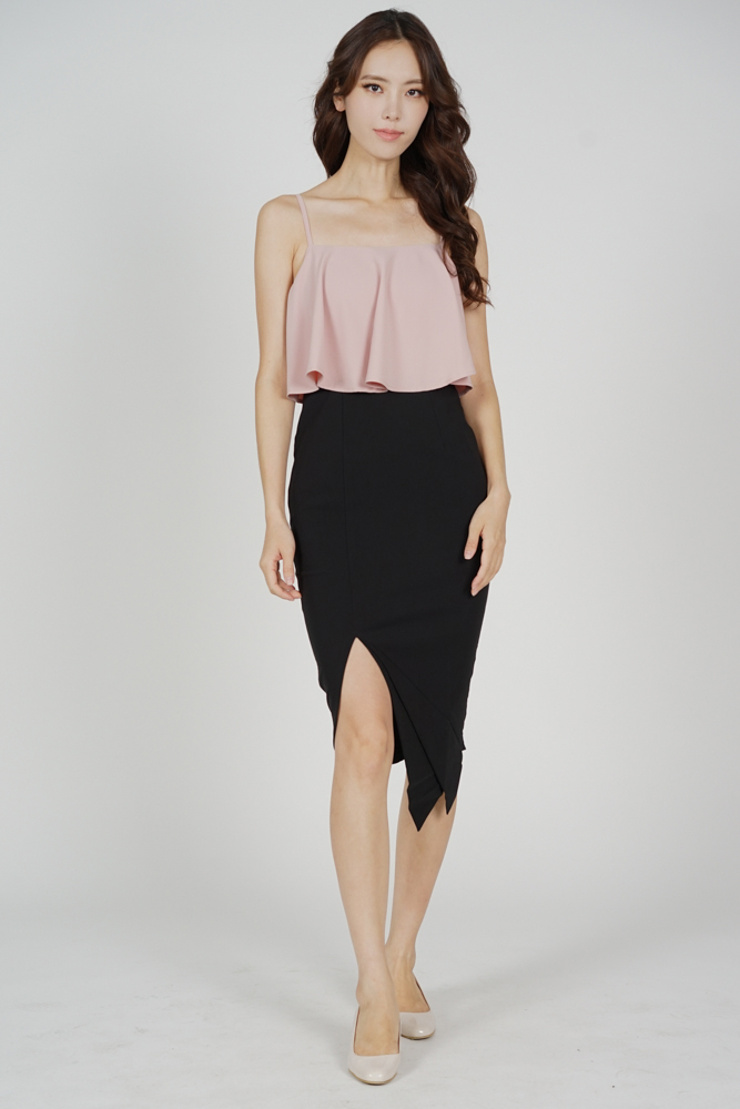 Marvie Cutout Slit Dress in Pink Black - Arriving Soon