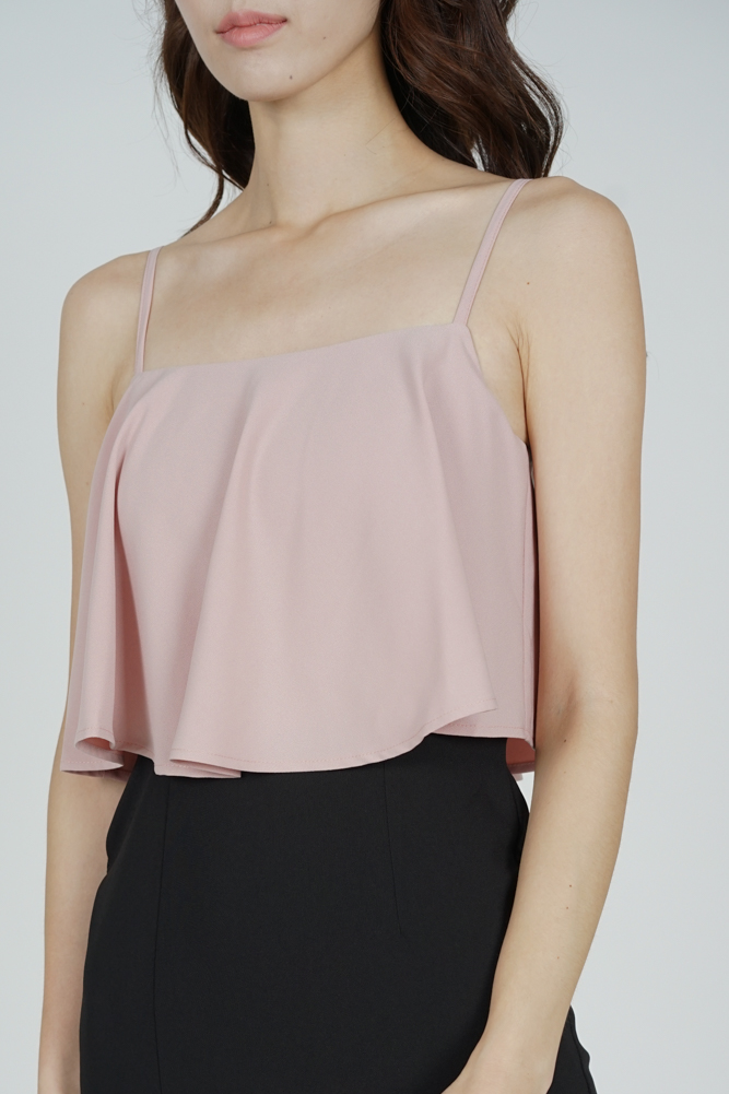 Marvie Cutout Slit Dress in Pink Black
