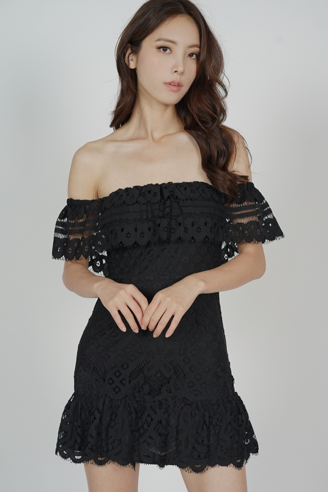 Noelle Lace Dress in Black