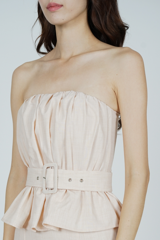Bessi Ruffled Peplum Dress in Beige