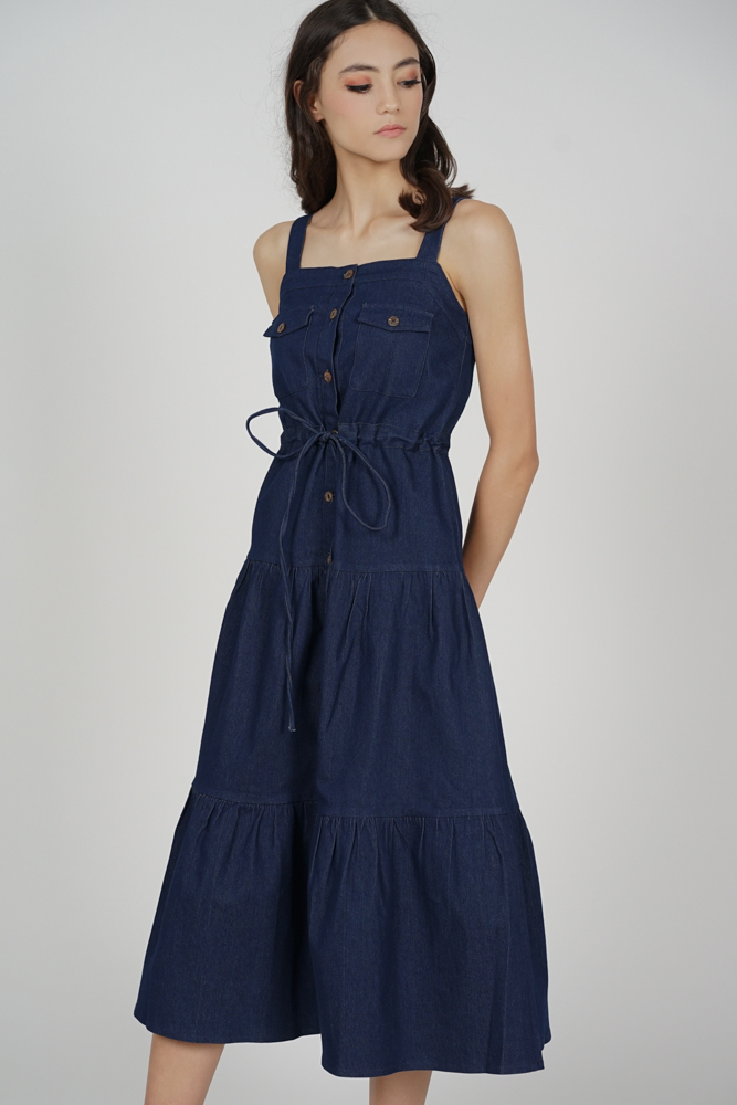 Mitza Drawstring Denim Dress in Dark Blue - Arriving Soon