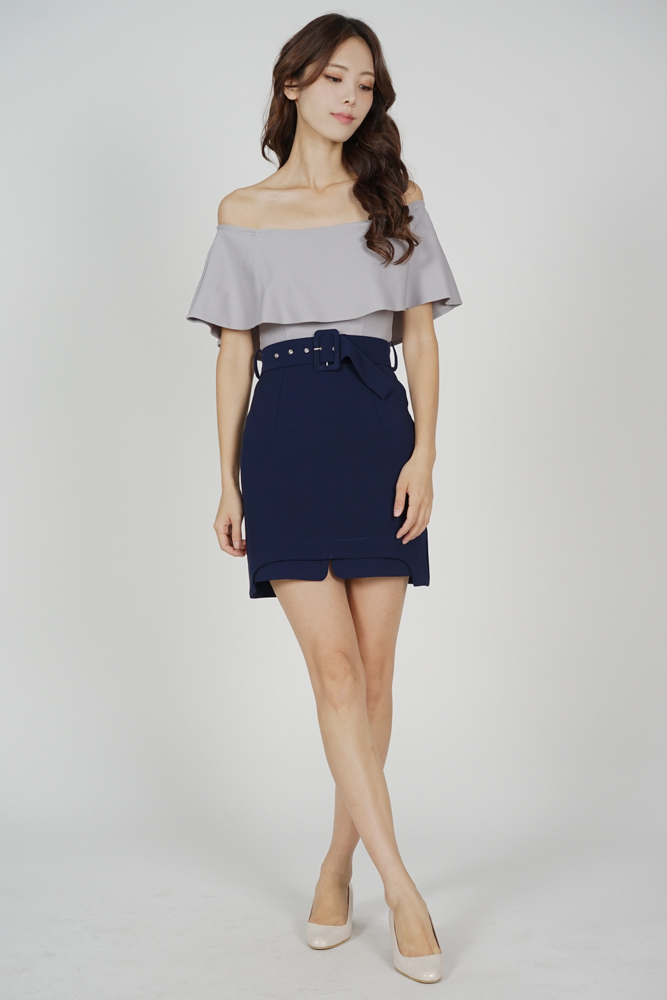 Liada Contrast Overlay Dress in Grey Midnight
