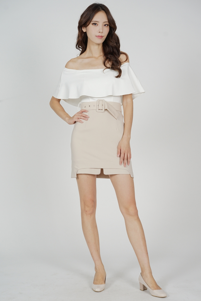 Liada Contrast Overlay Dress in White Nude