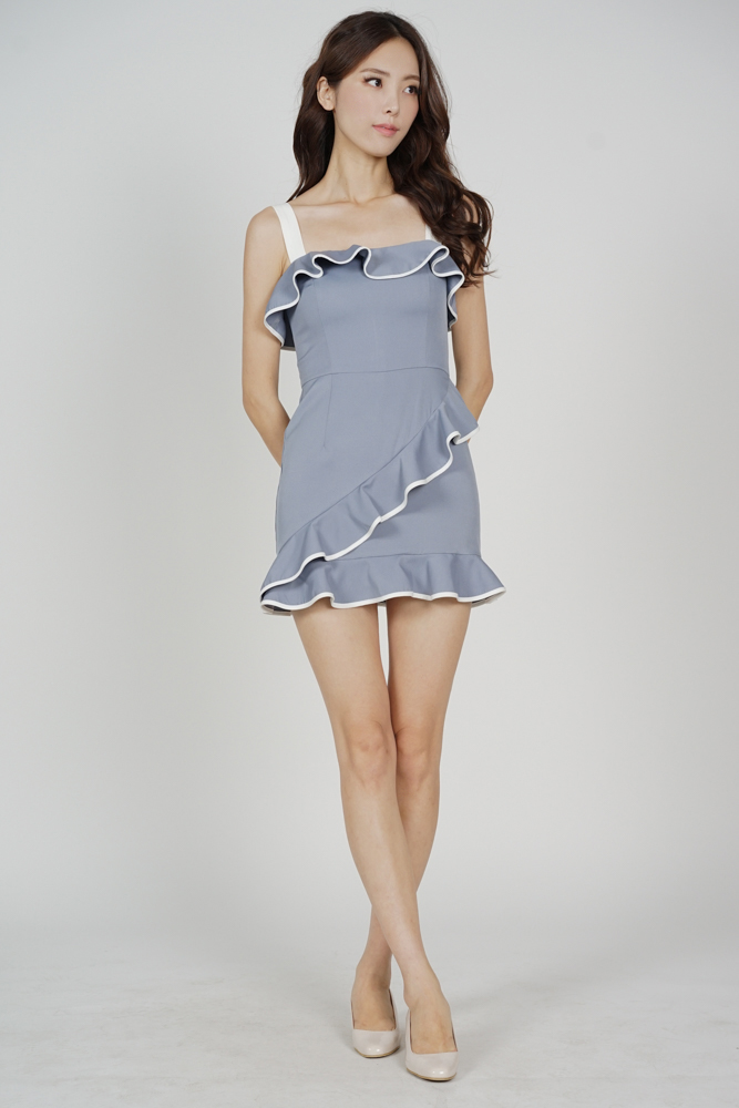 Maddie Contrast Ruffled Dress in Ash Blue - Arriving Soon