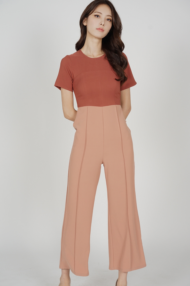 Calby Wide Leg Jumpsuit in Chestnut - Arriving Soon