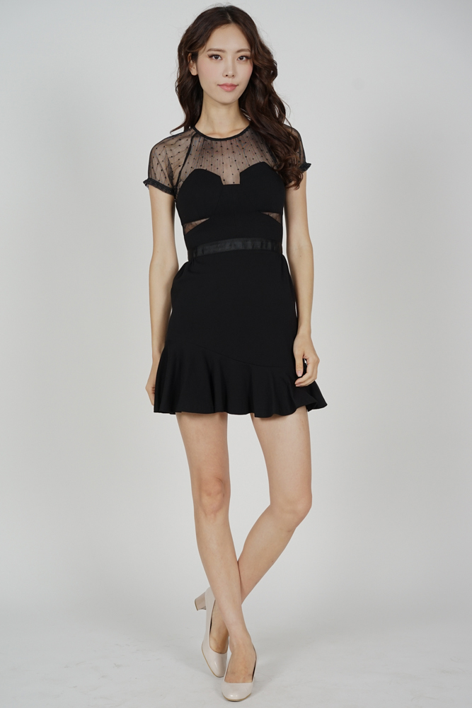 Halca Ruffled-Hem Dress in Black - Arriving Soon