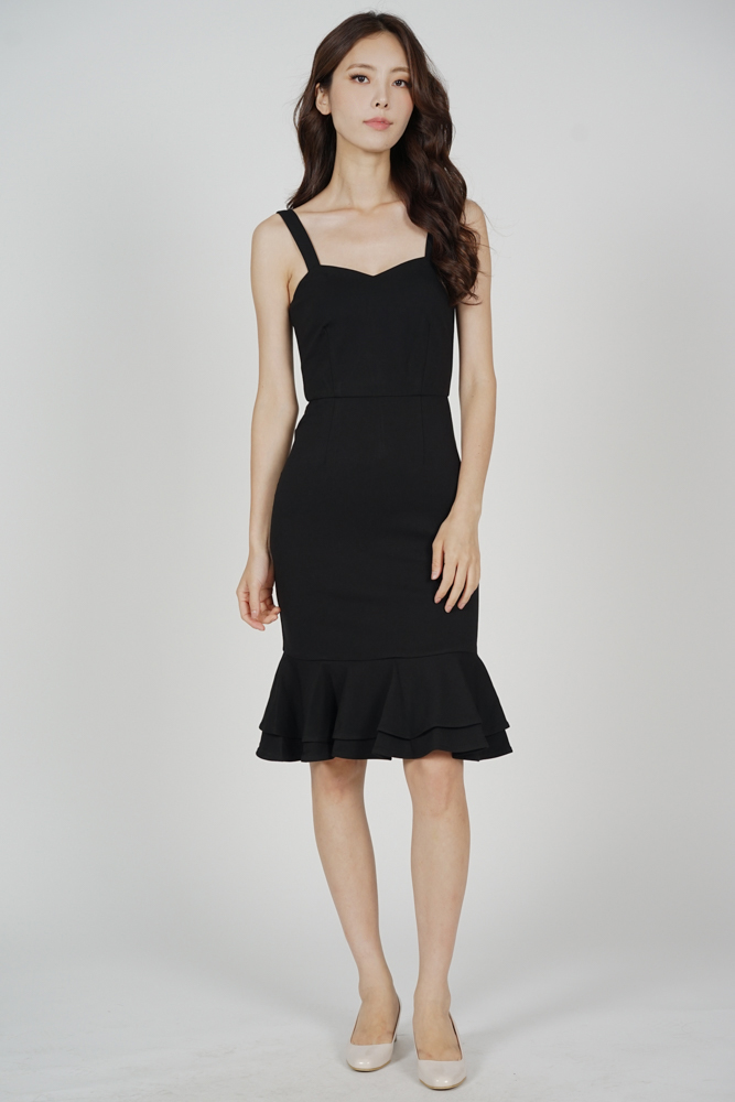Marian Ruffled-Hem Dress in Black