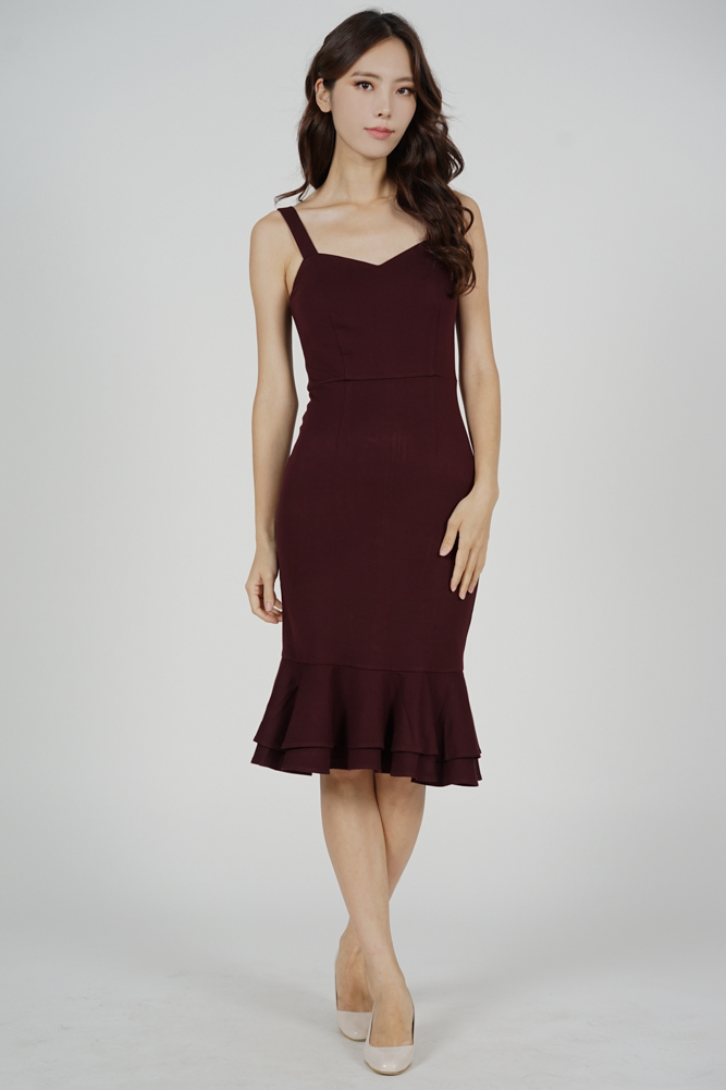 Marian Ruffled-Hem Dress in Oxblood - Arriving Soon