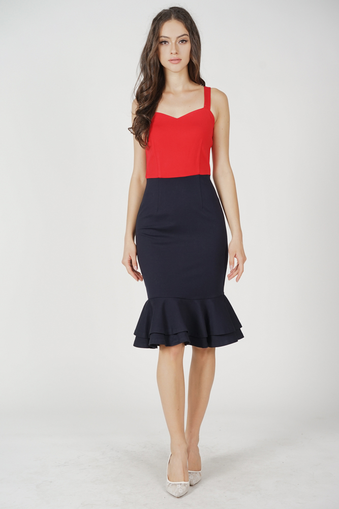 Marian Ruffled-Hem Dress in Red Midnight - Arriving Soon